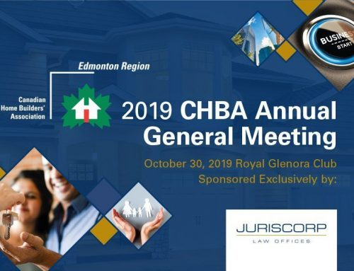 Juriscorp Law Offices proudly sponsors CHBA's 2019 Annual General Meeting for the Edmonton Region